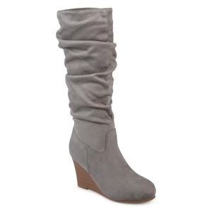 💖 Journee Collection Women's Gray Slouch Boots 8